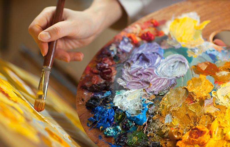Художницы палитра, краски