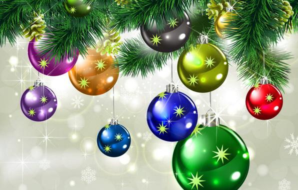 Новый год, игрушки, снег, ёлка