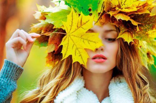 Осень, красивая девушка, листья