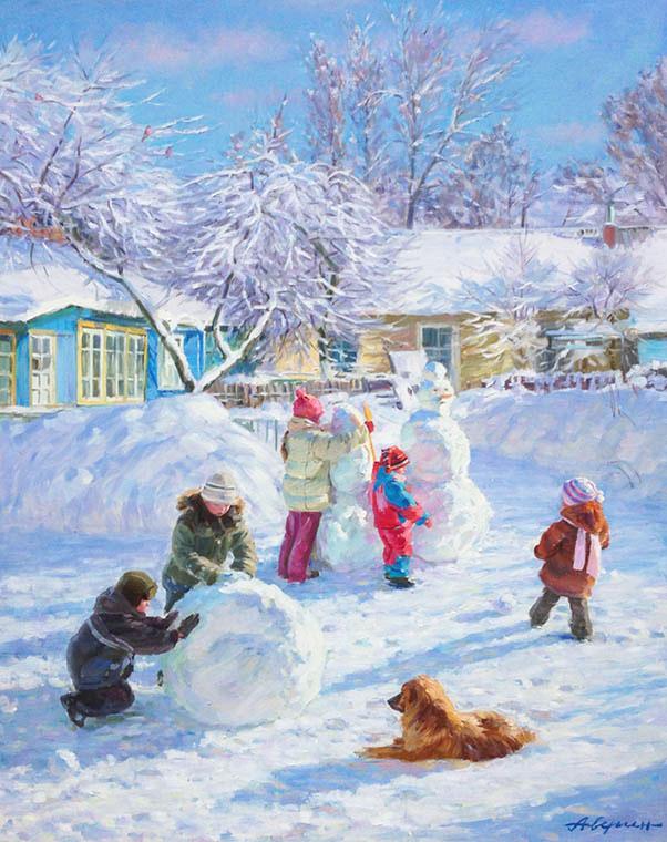 Снеговики, дети, зима, снег